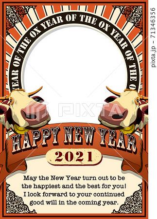 2021年賀状テンプレ「アートポスター風フォトフレーム年賀状」ハッピーニューイヤー 英語添え書き付