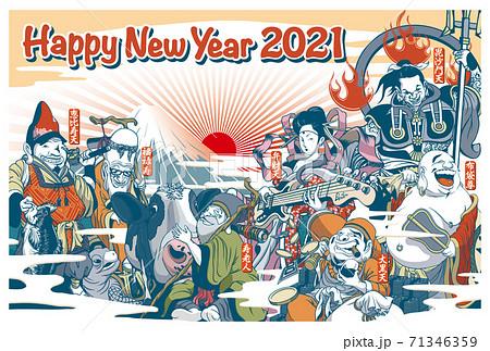 2021年賀状テンプレート「ちょっとおかしな七福神」ハッピーニューイヤー お好きな添え書きを書き込めるスペース付き