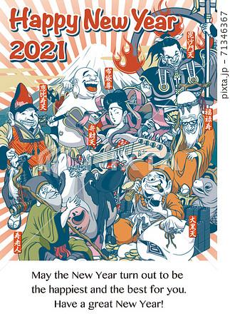 2021年賀状テンプレート「ちょっとおかしな七福神」ハッピーニューイヤー 英語添え書き付