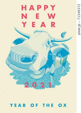 2021年賀状テンプレート「2色デザイン年賀状」ハッピーニューイヤー お好きな添え書きを書き込めるスペース付き