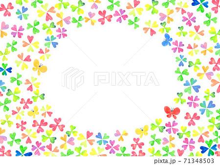 水彩で描いたクローバーのフレーム 71348503