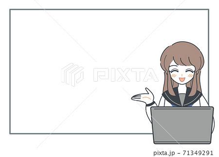 パソコンを使ってプレゼンする女子高生・笑顔・ベクター 71349291