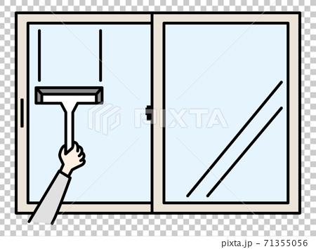 用刮水器清潔窗戶的圖像 71355056