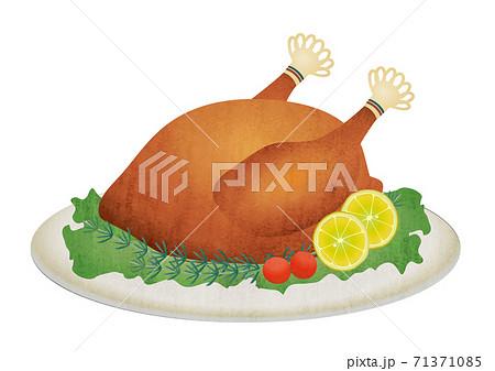 チキンの丸焼きの素材イラスト 71371085