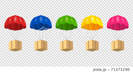 Vector 3d Realistic Parachute with Paper Cardboard Box Set Isolated on Transparent Background. Design Template for Delivery Services, Post, E-Commerce, Sport Concept, Web Banner, Mockup. Front View 71373290