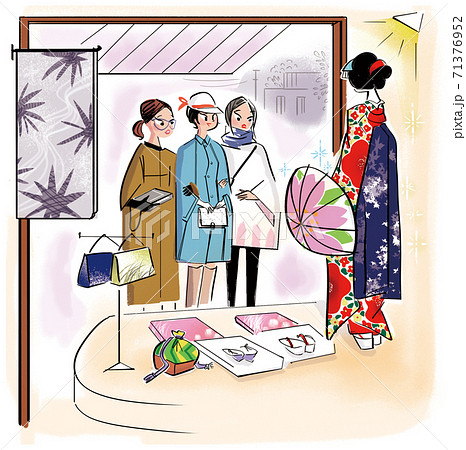 呉服屋の着物に見とれる女子達のイラスト 71376952