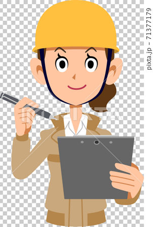 有剪貼板和筆的女性建築工人 71377179