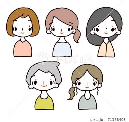 女性 笑顔 アイコン セット 71378403