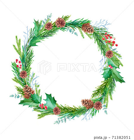 松毬、もみの枝、西洋柊などのクリスマス装飾の水彩イラスト。リース。 71382051