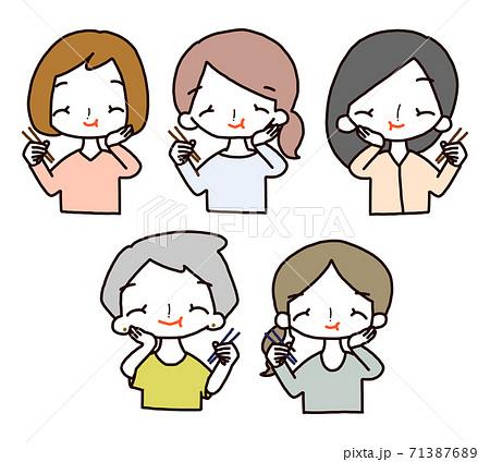 女性 食べる ポーズ アイコン セット 71387689