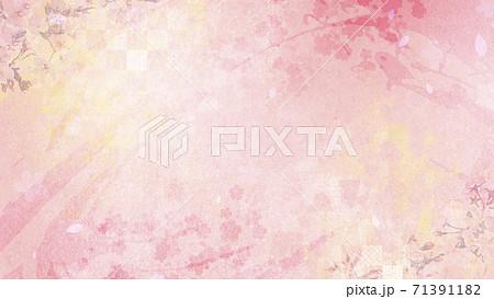 和紙の風合いを感じる背景素材 春、桜の季節【16:9】 71391182