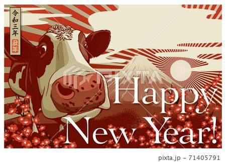 2021年賀状テンプレート「金の牛」ハッピーニューイヤー 手書き文字用スペース空き 71405791