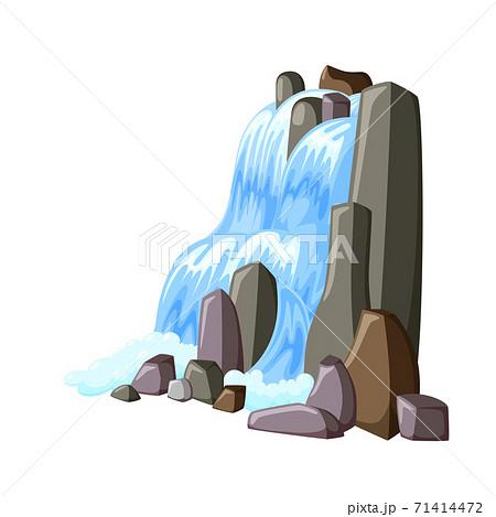 Waterfall cascade in rocks. Water splashing down with foam. Vector illustration of falling river 71414472