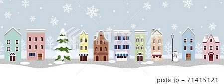 冬の街並み - 外国風 横長 71415121