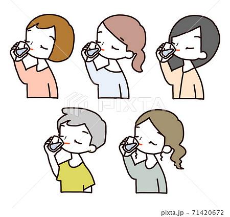 女性 飲む ポーズ アイコン セット 71420672