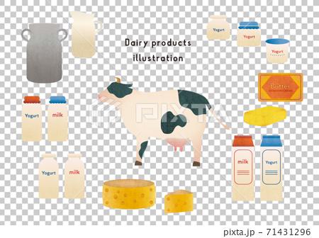 牛和各種乳製品的插圖集 71431296