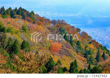 大和葛城山から奈良盆地側を撮影した秋の風景 71437562