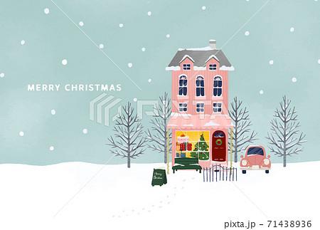 雪化粧のクリスマスのピンクのお家イラスト 71438936