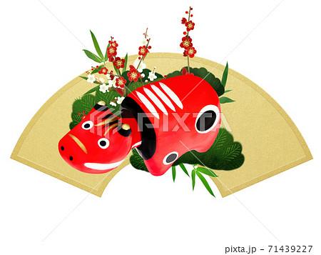 赤べこと松竹梅の飾り - 複数のバリエーションがあります 71439227