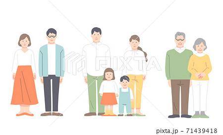 夫婦・家族の全身イラスト フラットタッチ 71439418