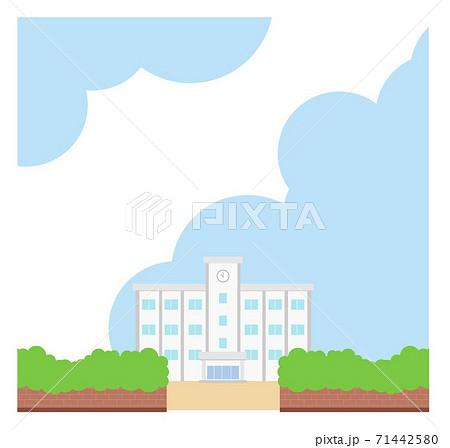 校舎のイラスト フレーム 素材 学校 背景 青空 ベクター 手描き 71442580