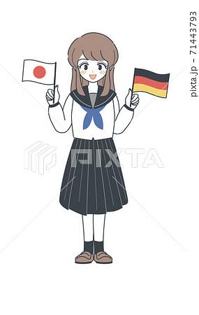 ドイツ国旗と日本国旗を持つセーラー服の学生・ベクター 71443793