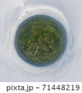 Little planet 360 degree sphere. Panorama of aerial top view of green Mountain hill. Nature landscape background in Phetchabun, Thailand. 71448219