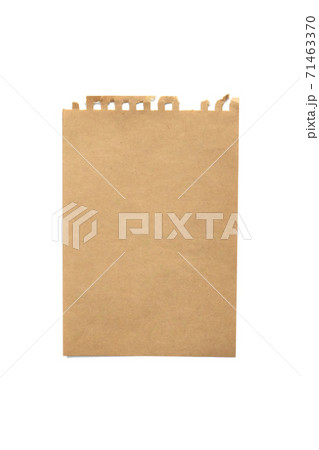 Torn craft paper notebook on white background 71463370