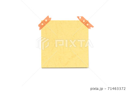 yellow memo paper and hand-tipped tape 71463372