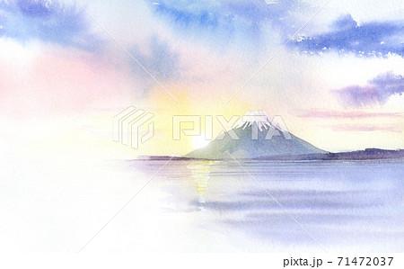 初日の出 富士山 透明水彩  71472037