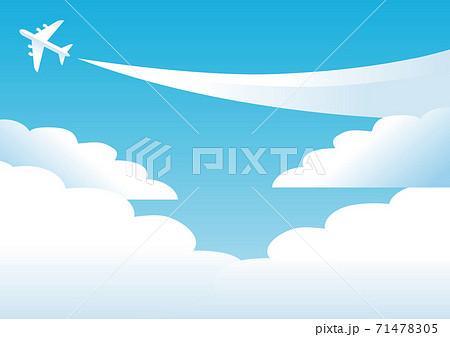 夏 海 青空 飛行機 コピースペース 背景 イラスト 71478305