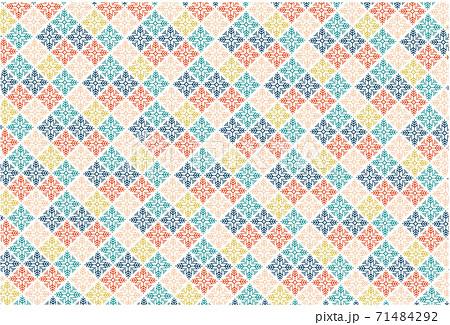 クロスステッチ 幾何学模様 格子 パターン柄 71484292