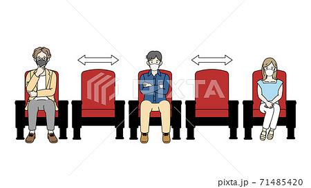 映画館 席を空けて映画を観る人たち ソーシャルディスタンス  71485420