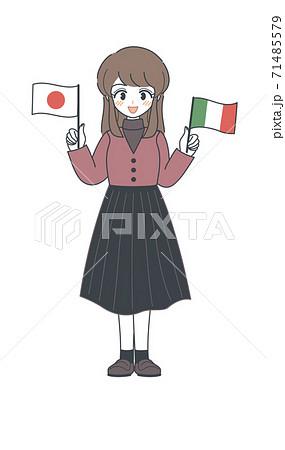 イタリア国旗と日本国旗を持つおねえさん・ベクター 71485579