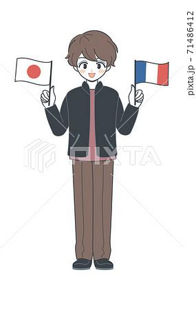 フランス国旗と日本国旗を持つおにいさん・ベクター 71486412