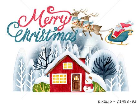 手描き水彩   サンタクロース クリスマス カード イラスト 71493792