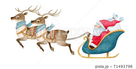 手描き水彩   サンタクロース と トナカイ イラスト 71493796