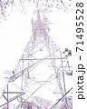 満開の桜と送電塔【色鉛筆】 71495528
