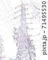 満開の桜と送電塔【色鉛筆】 71495530
