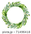 Watercolor christmas frame. Watercolor Christmas wreath with fir branches and place for text. 71496418