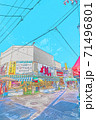 [アニメ風] 北海道函館 函館朝市周辺の風景 71496801