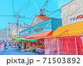 [アニメ風] 北海道函館 函館朝市周辺の風景 71503892