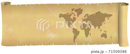 古い横長の巻物に描かれた欧米中心世界地図のイメージ ベクターイラスト背景透明 71509386