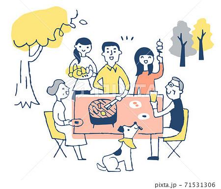屋外でバーベキューを楽しむ家族 71531306