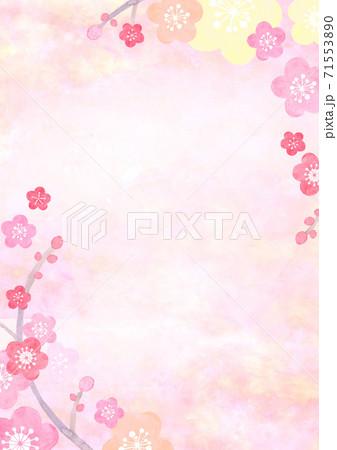 水彩で描いた和風の梅の背景イラスト 71553890
