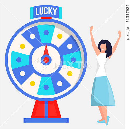 Game fortune wheel concept. Girl playing risk game with fortune wheel and lottery, gambling template 71557926