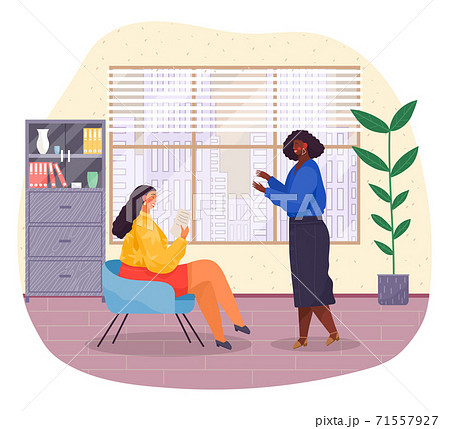 Business meeting office interior. Woman sitting on chair reading document, talking to manager 71557927