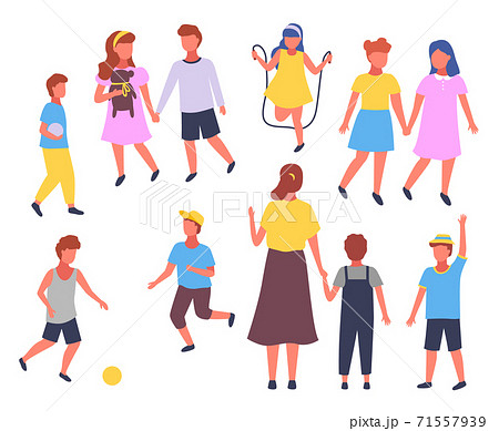 Group elementary school vector illustration boy and girl and teacher in playground in cartoon style 71557939