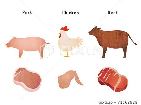 定番のお肉と動物の素材イラスト 71563928