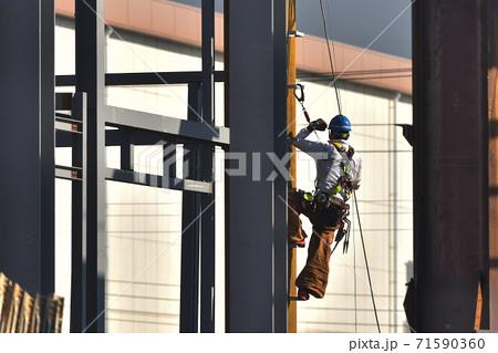 新築鉄骨組み立て作業風景 高所作業の鳶職人 71590360